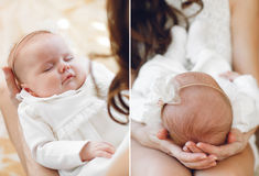 Newborn baby sleeping on mother's hands. Royalty Free Stock Photography