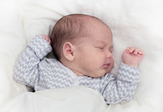 Newborn baby sleeping, one month old royalty free stock photo