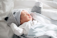 Newborn Baby sleeping peacefully at home Stock Photography