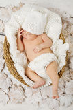 Newborn baby sleeping in white basket Stock Photos
