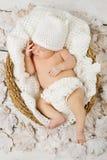 Newborn baby sleeping in white basket. Newborn baby sleeping in white woolen  basket on leaves Stock Photos