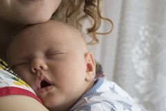 Newborn baby sleeps in the arms of his mother royalty free stock photo