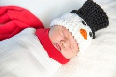 Newborn baby snowman Royalty Free Stock Photos