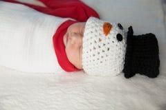 Newborn baby snowman Stock Image