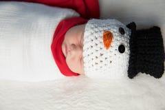 Newborn baby snowman Royalty Free Stock Photography