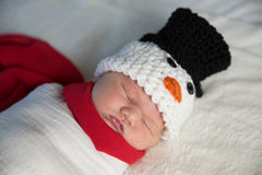 Newborn baby snowman Stock Images