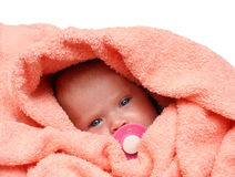 Newborn baby with soother Royalty Free Stock Images