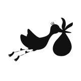 Newborn baby stork cartoon Royalty Free Stock Photography