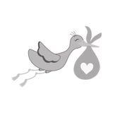 Newborn baby stork cartoon Royalty Free Stock Images