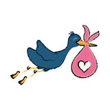 Newborn baby stork cartoon Stock Photos