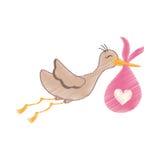 Newborn baby stork cartoon Royalty Free Stock Photo