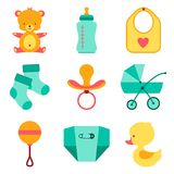 Newborn baby stuff icons set Stock Image