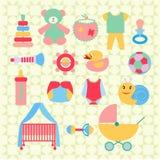 Newborn baby stuff icons set - Illustration Royalty Free Stock Photos