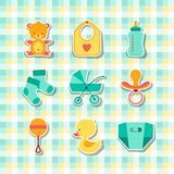 Newborn baby stuff icons stickers Royalty Free Stock Image