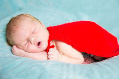 Newborn baby superhero Stock Photo