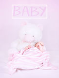 Newborn baby with teddy bear Stock Photos