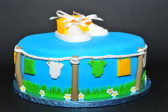 Newborn baby theme cake Stock Photos