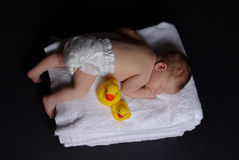 Newborn baby on top of towels Royalty Free Stock Images