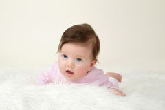 Newborn Baby Tummy Time Stock Photography