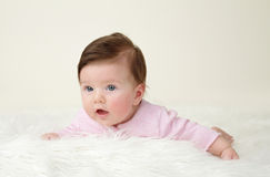 Newborn Baby Tummy Time Royalty Free Stock Photos