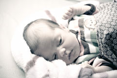 Newborn Baby Waking Up Royalty Free Stock Photos