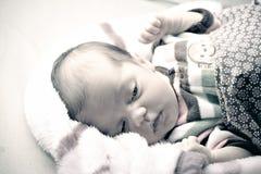 Newborn Baby Waking Up Royalty Free Stock Photos