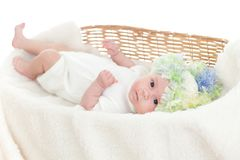 Newborn baby weared a cap in a wicker basket Stock Photo