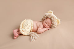 Newborn Baby Wearing a Lion Costume Royalty Free Stock Images