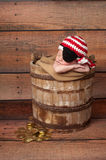 Newborn Baby Wearing a Pirate Hat and Eye Patch. One week old newborn baby boy wearing a crocheted red and white pirate hat and black eye patch. He is sleeping stock images