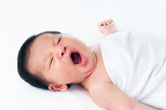 Newborn Baby Yawning Stock Images