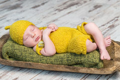 Newborn baby in yellow costume sleeping on wooden cot Royalty Free Stock Photography