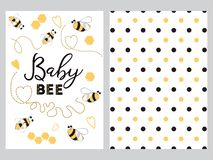 NewBorn banner design text Baby bee decorated bee heart honey sweet Plka Dot background set. Newborn banner design set with text Baby bee with cute hand drawn royalty free illustration