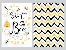 NewBorn banner design text Sweet as can Bee decorated bee heart honey sweet Zig Zag yellow black background set. Newborn banner design set with text Sweet as can royalty free illustration