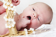 Newborn in the basket Stock Photo