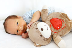 Newborn with bear toy Royalty Free Stock Photos
