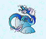 Newborn blue asian dragon on bubble. Newborn blue water asian dragon against bubble Stock Photography