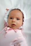 Newborn in bonnet. Newborn girl in lacy bonnet on clear background Stock Image