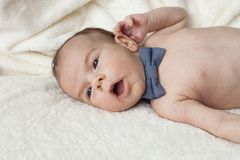Newborn with bow Stock Photography