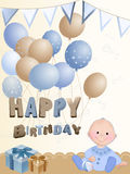 Newborn boy. Background for birthday with a newborn boy Stock Images