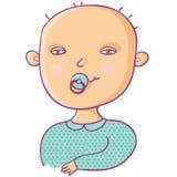 Newborn boy. Cute cartoon Royalty Free Stock Photography