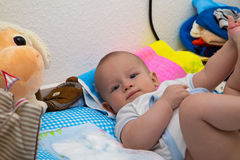 Newborn boy on the changing table Stock Photos
