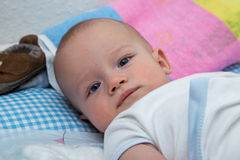 Newborn boy on the changing table Royalty Free Stock Photography
