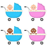 Newborn Boy & Girl Baby Buggy or Pram Royalty Free Stock Photo