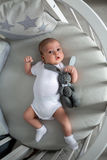 Newborn boy lies in a round bed Stock Photography