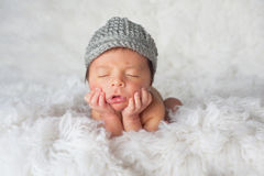 Newborn Boy with Newsboy Hat Royalty Free Stock Photos