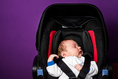 Newborn boy in a safety car seat Royalty Free Stock Photo