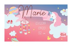 Newborn card vector girly baby birth cartoon character unicorn toys baby-shower banner girlish infant birth-card space royalty free illustration