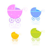 Newborn carriages. Vector illustration of 4 blue baby buggies, reflecting on white surface Royalty Free Stock Photos