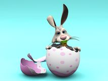 Newborn cartoon Easter Bunny in eggshell. Stock Photos