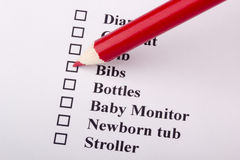 Newborn Checklist Royalty Free Stock Images